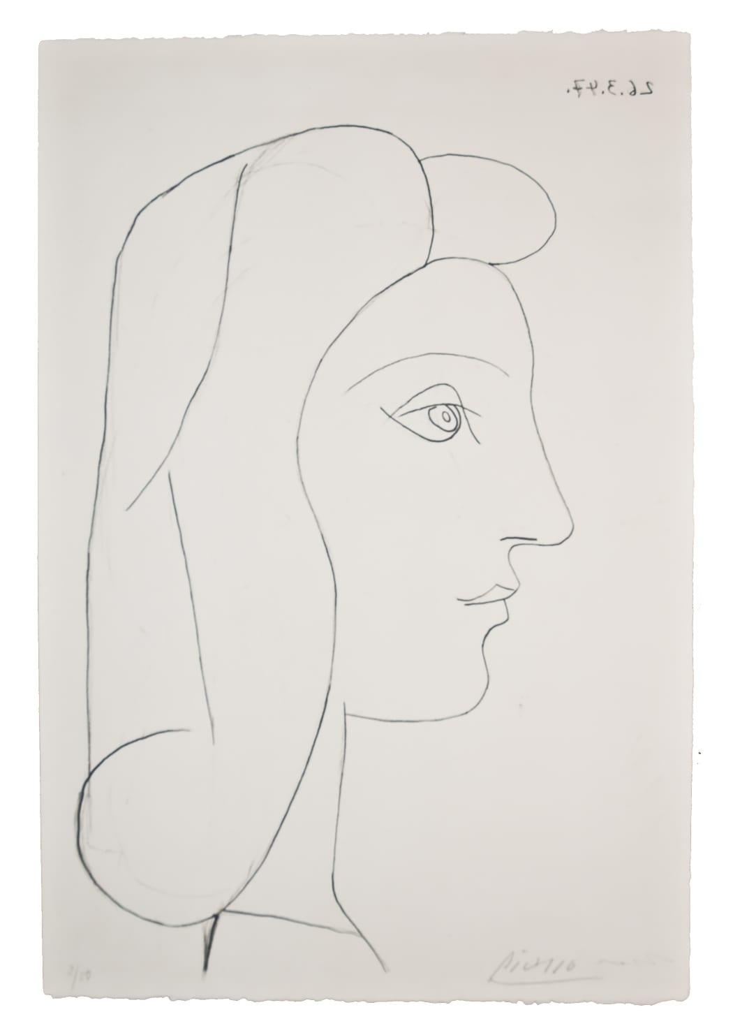 Profil de Femme (Bloch 436), 1947, lithograph, 22 1/8 x 15 inches