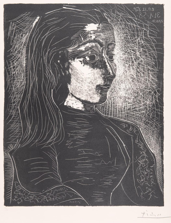 Jacqueline de Profil à droite (Bloch 854), 1958, lithograph, 22 x 17 3/8 inches