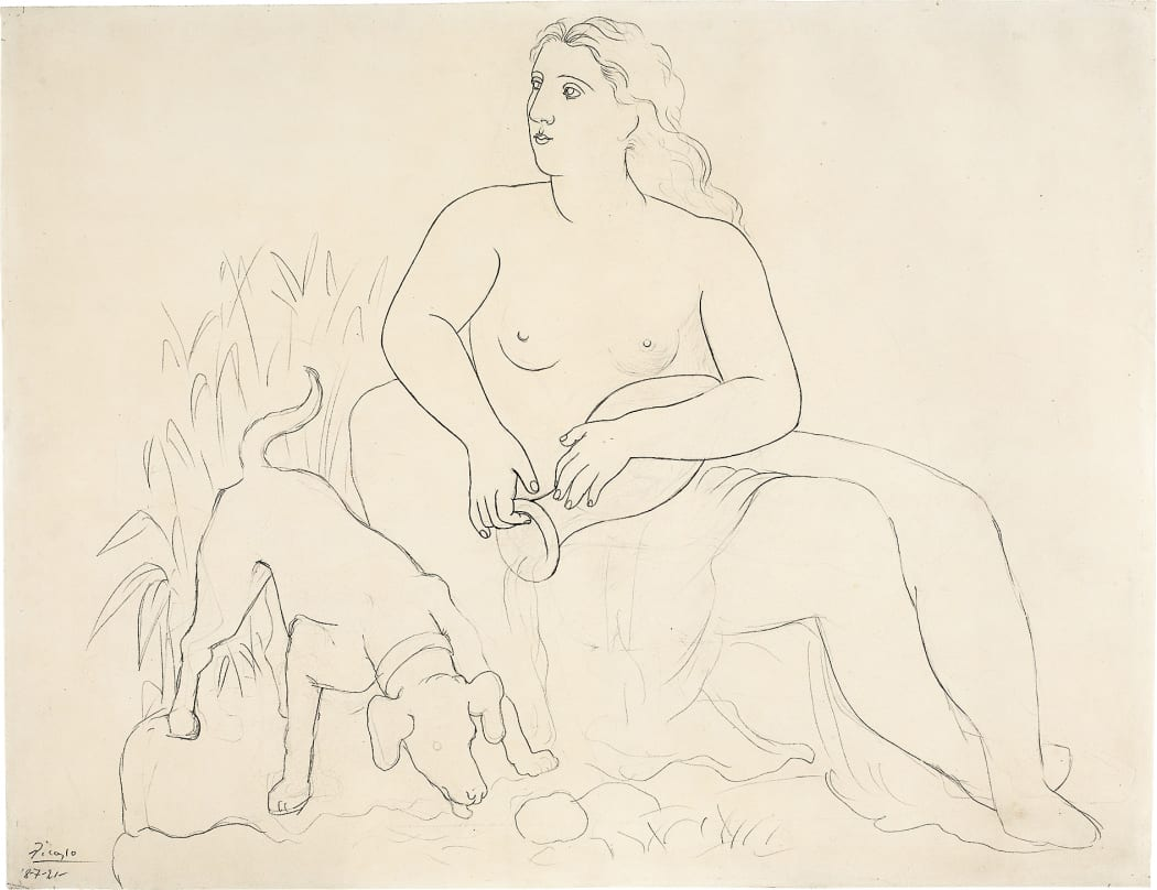 La Source / Femme au chien (Z.IV.no.301), 1921, pencil drawing on cream vellum paper, 19 7/16 x 25 1/8 inches