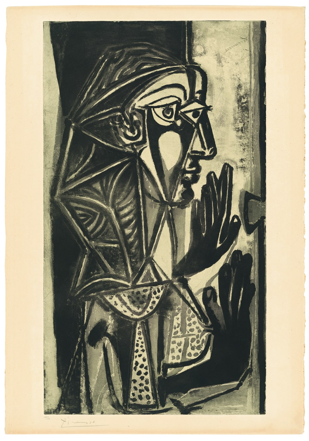 La Femme a la Fenêtre 1949 (Bloch 695), Sugarlift aquatint, 32 5/8 x 18 1/2 inches