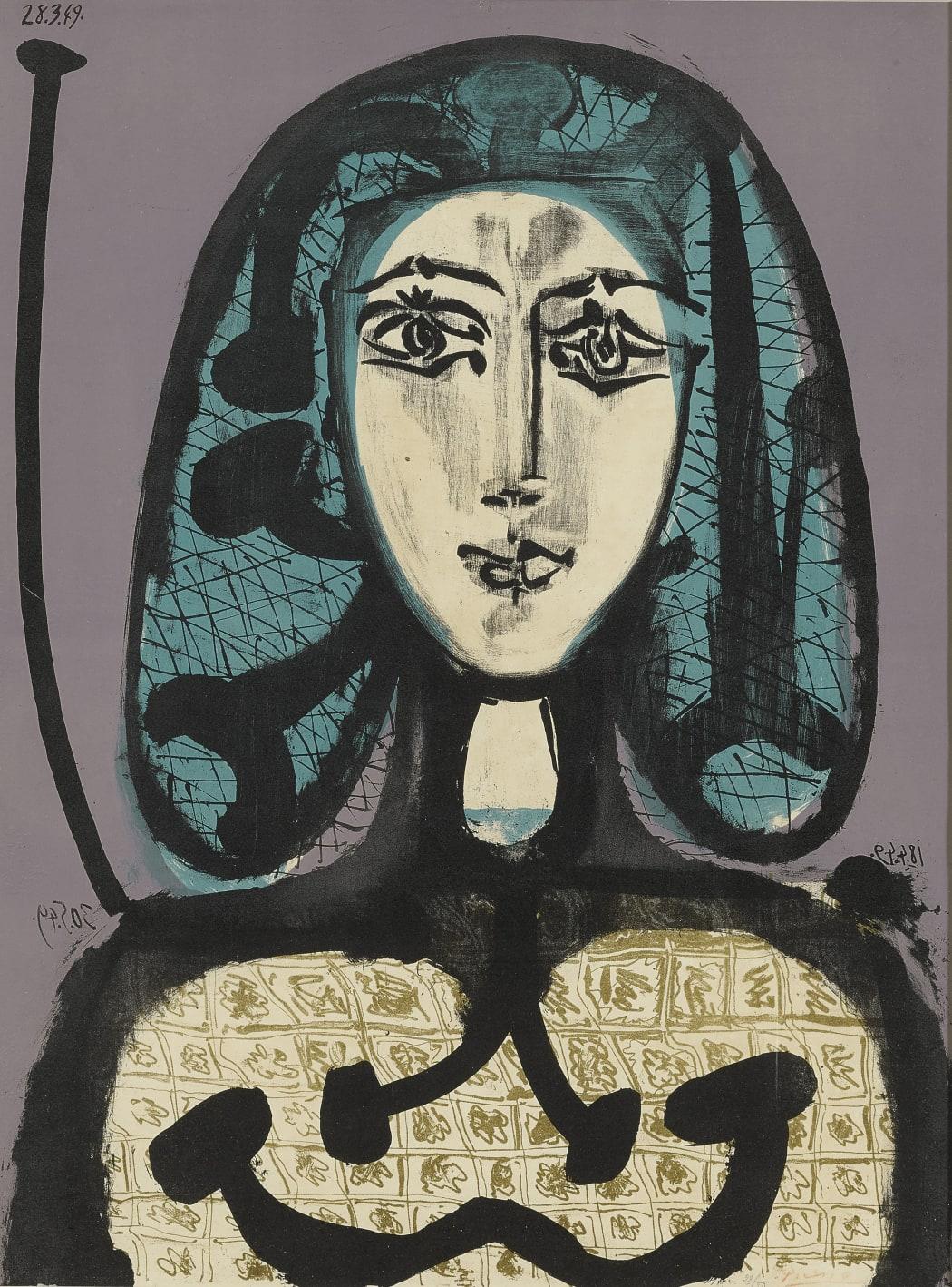 La Femme à la Résille (Femme aux Cheveux verts) (Bloch 612), 1949, lithograph, 25 3/4 x 19 3/4 inches