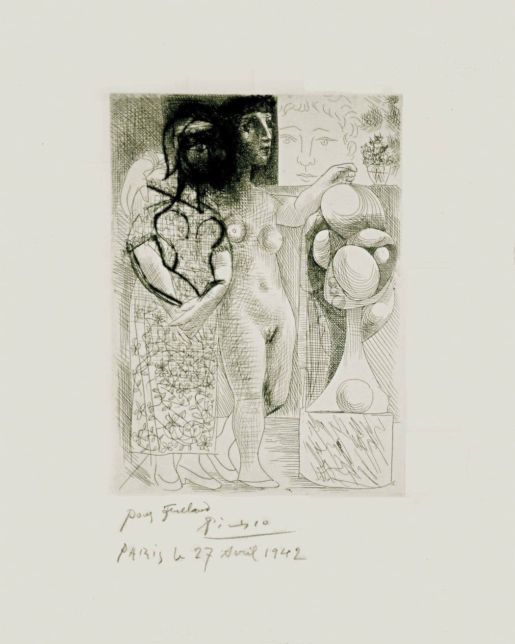 Muse montrant à Marie-Thérèse pensive son Portrait sculpté B257, 1933 (March 17.III, Paris), etching, 16 7/8 x 13 1/4 inches