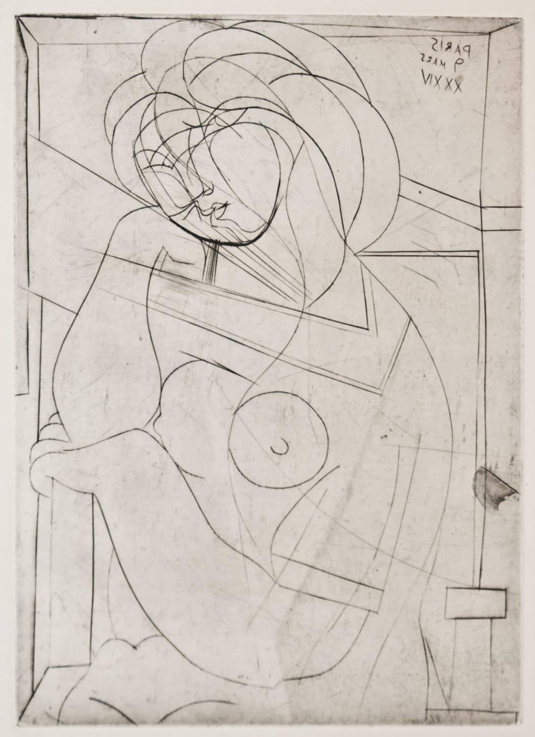 Femme au Fauteuil songeuse, la Joue sur la Main (S.V. 21) B218, 1934, engraving, 17 5/8 x 13 5/8 inches