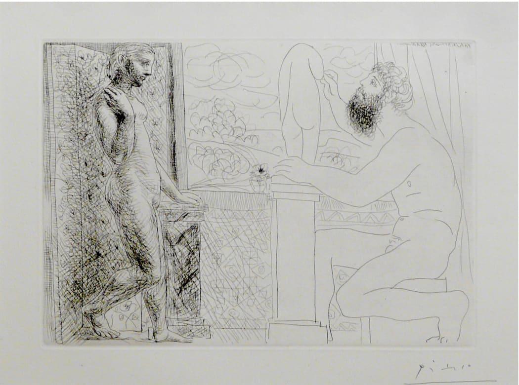 Sculpteur et son modèle devant une fenêtre (B168), 1933, etching, 15 1/4 x 19 3/4 inches