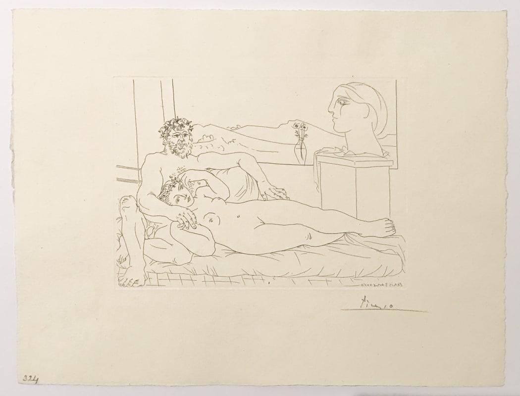 Vieux Sculpteur et Jeune Modèle avec le Portrait sculpté du Modèle (S.V. 63) (Bloch 172), 1933, etching, 15 1/4 x 19 3/4 inches