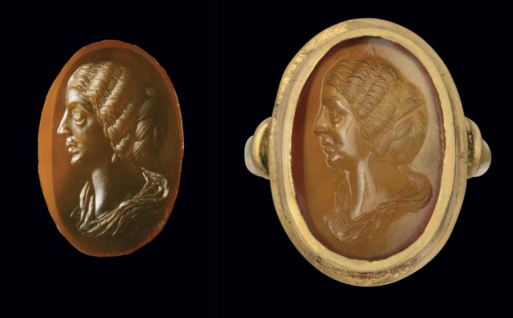 A Roman carnelian intaglio portrait of the Empress Julia Domna set in a modern gold ring. Circa AD 200