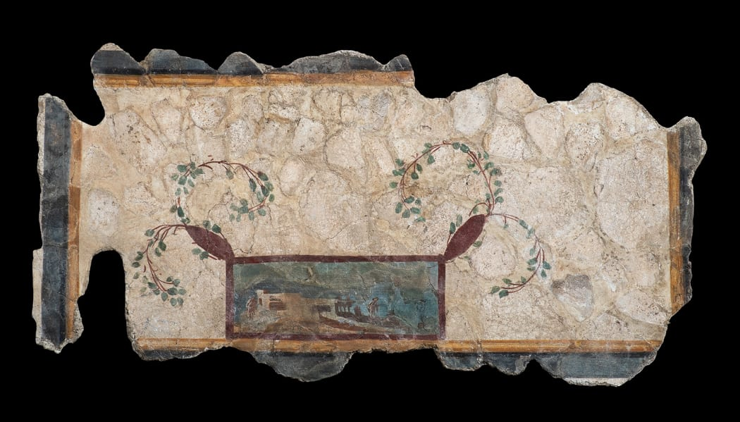 A ROMAN POLYCHROME PAINTED FRESCO WALL PAINTING Third Pompeian Style, early 1st century AD