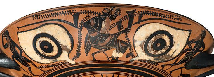 DETAIL OF AN ATTIC BLACK-FIGURE EYE-CUP, circa 525 - 500 BC