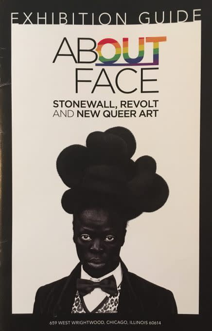 Exhibition catalogue (front view) for About Face (featured image: Zanele Muholi, Phaphama, at Cassilhaus, North Carolina, 2016, Archival pigment print, 43 3/8 in x 30 in, courtesy of Wrightwood 659.)