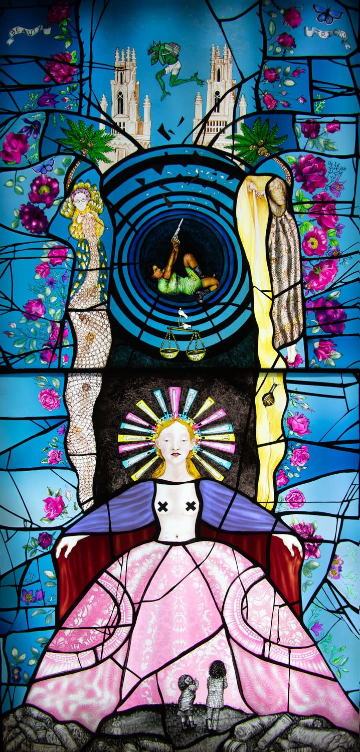 PINKIE MACLURE | Beauty Tricks (detail) | stained glass | 120cm x 60cm