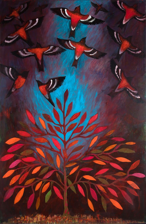 Paul Bloomer | Autumn Bramblings | oil on board | 182 x 122 cm