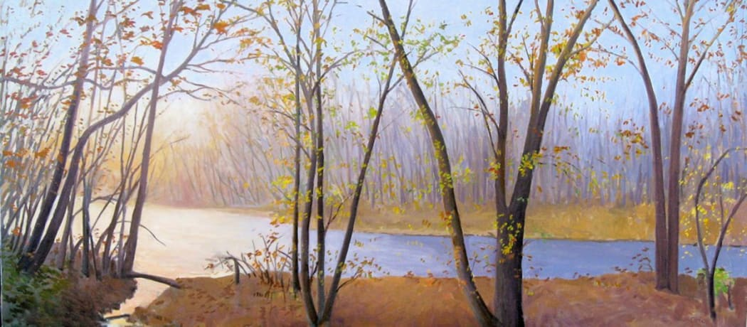 """Elissa Gore's """"Neshaminy Creek"""" oil painting on canvas in shades of orange, yellow, blue, green and brown. The painting depicts a forest fall setting with a sense of depth of field with the trees in both the background and foreground."""