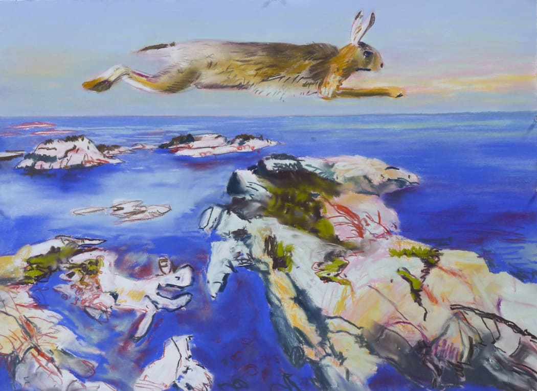 John Hartman, Running Rabbit Above the Western Islands, 2020, pastel on paper, 22 x 30 in.