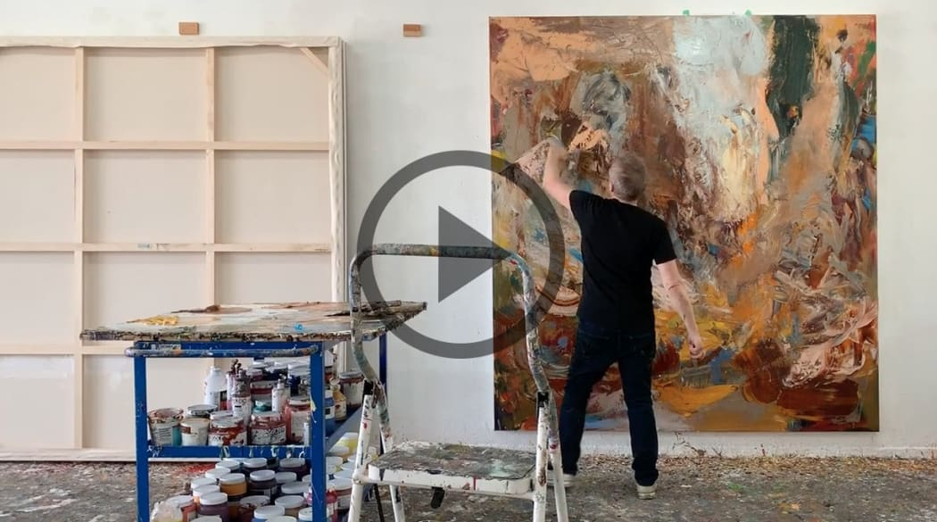 Michael Smith painting in his studio (click in to the page to access the video)