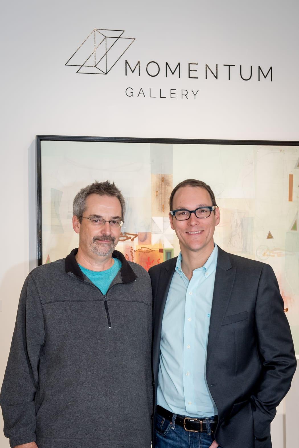 Painter Michael Barringer with Momentum Gallery Director Jordan Ahlers
