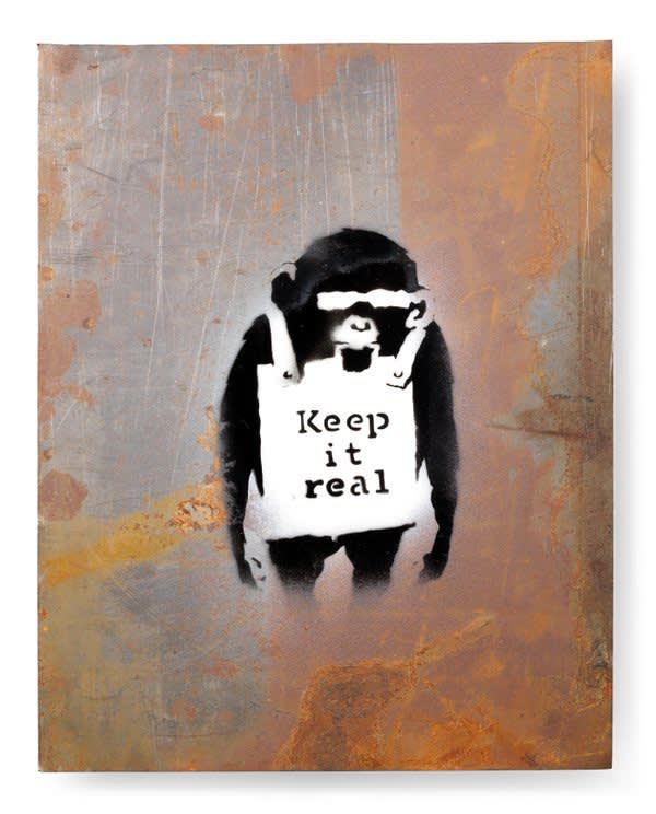 "Banksy ""Keep it real"" small version fetches 250.000£ at Bonhams."