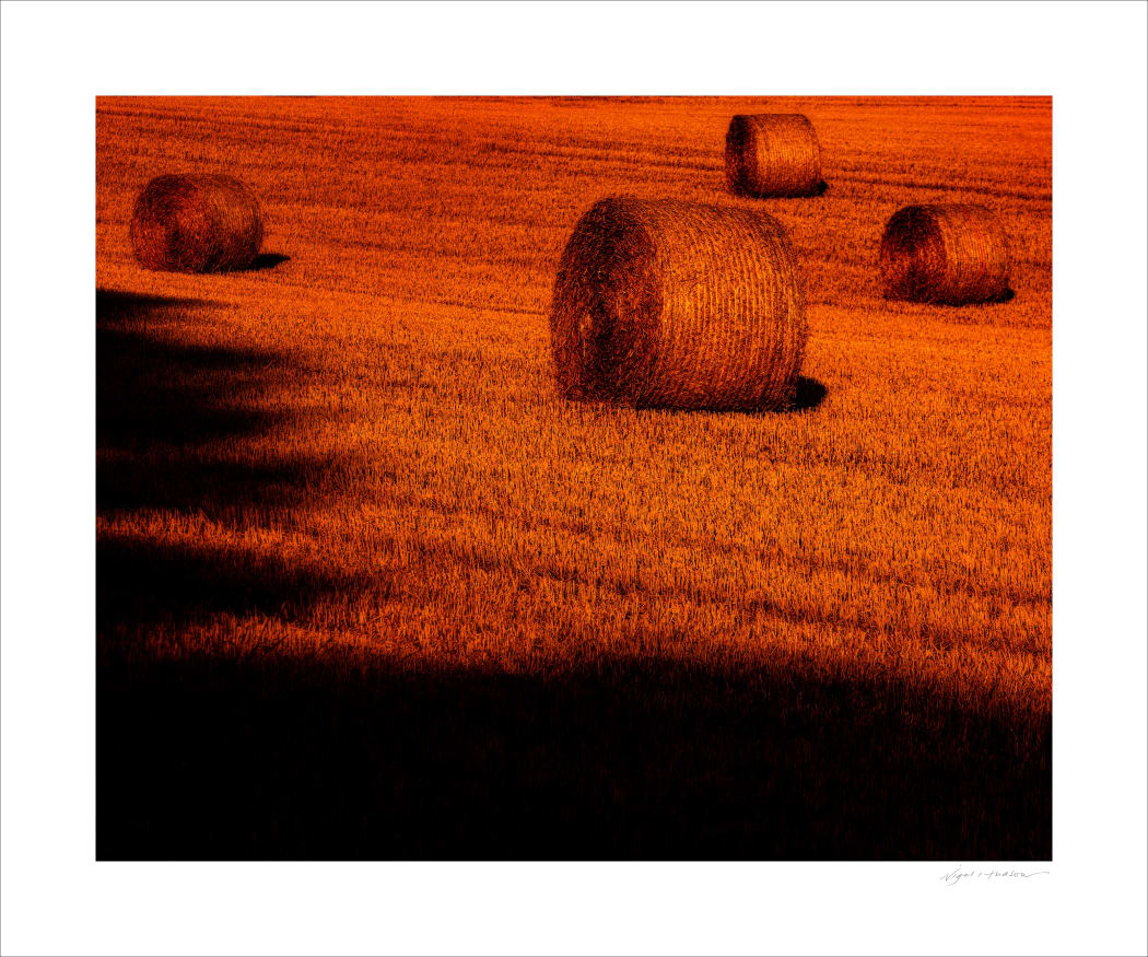 Hay Bales at Dawn, close to Great Bedwyn in Wiltshire. UK.