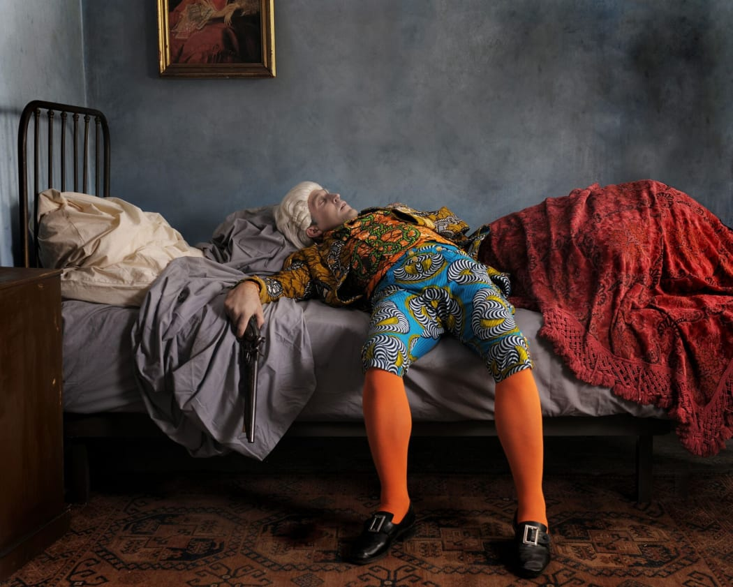 Yinka Shonibare' work named Fake Death Picture or The Suicide, created in 2011