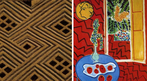 Left: Kuba Cloth from Matisse's Collection, artist unknown. Right: Matisse's Red Interior still life on a blue table (1942)