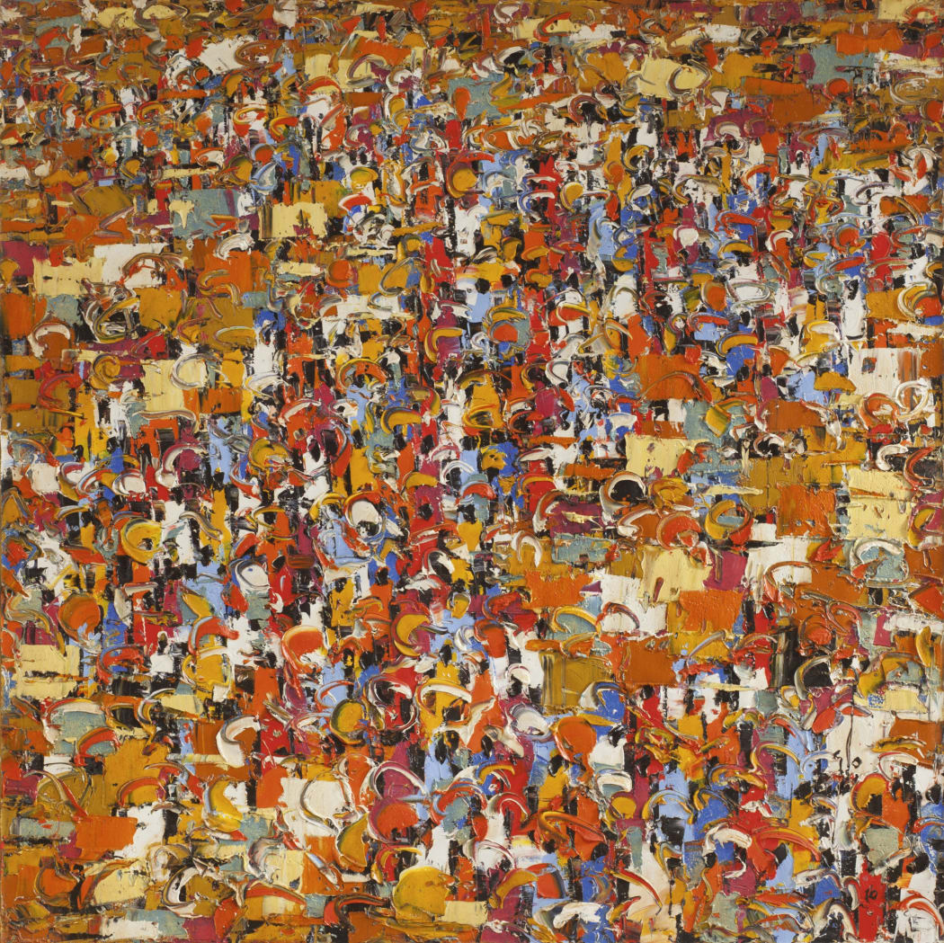 Ablade Glover's painting named Ghananian Market Intrigue, 1934