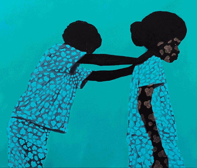 © Wonderbuhle 'Asikafiki', 2020, Acrylic and metallic paint on canvas, 100 x 100 cm
