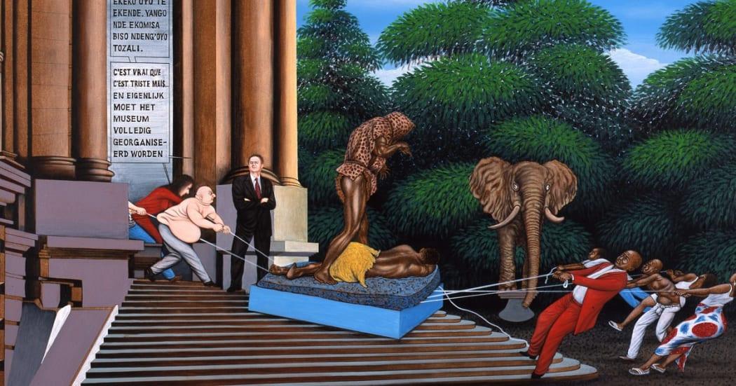 Chéri Samba's 'Réorganisation' (2002), depicting a tug of war on the museum steps © RMCA