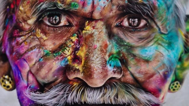 Indian Man by Jack Ede inspired by Steve McCurry's Holi Festival photography