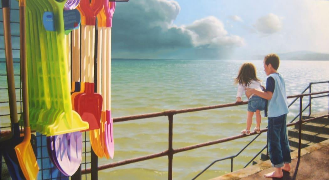 """""""Morning on the Promenade"""" - Oil on linen, 92 x 168cm"""
