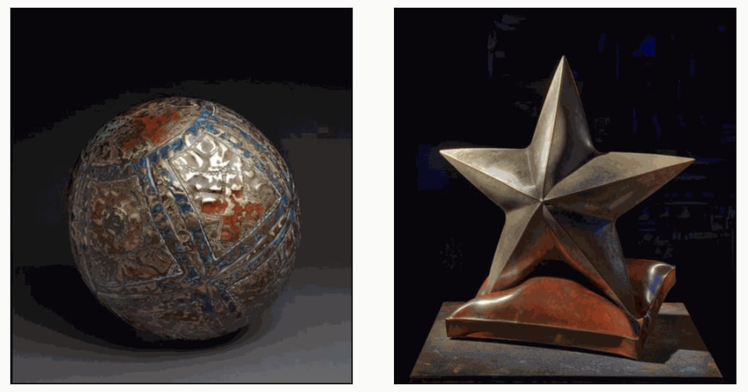 "QUILTED MEDICINE BALL, (left) one of a kind forged & fabricated bronze, 16"" h x 16"" w x 16"" d, SIRIUS REPOSE, (right) one of a kind forged & fabricated bronze, 23"" h x 21"" w x 12"" d"