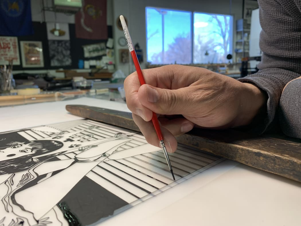 Diego Romero makes a Lithograph at Black Rock Editions in Santa Fe, New Mexico