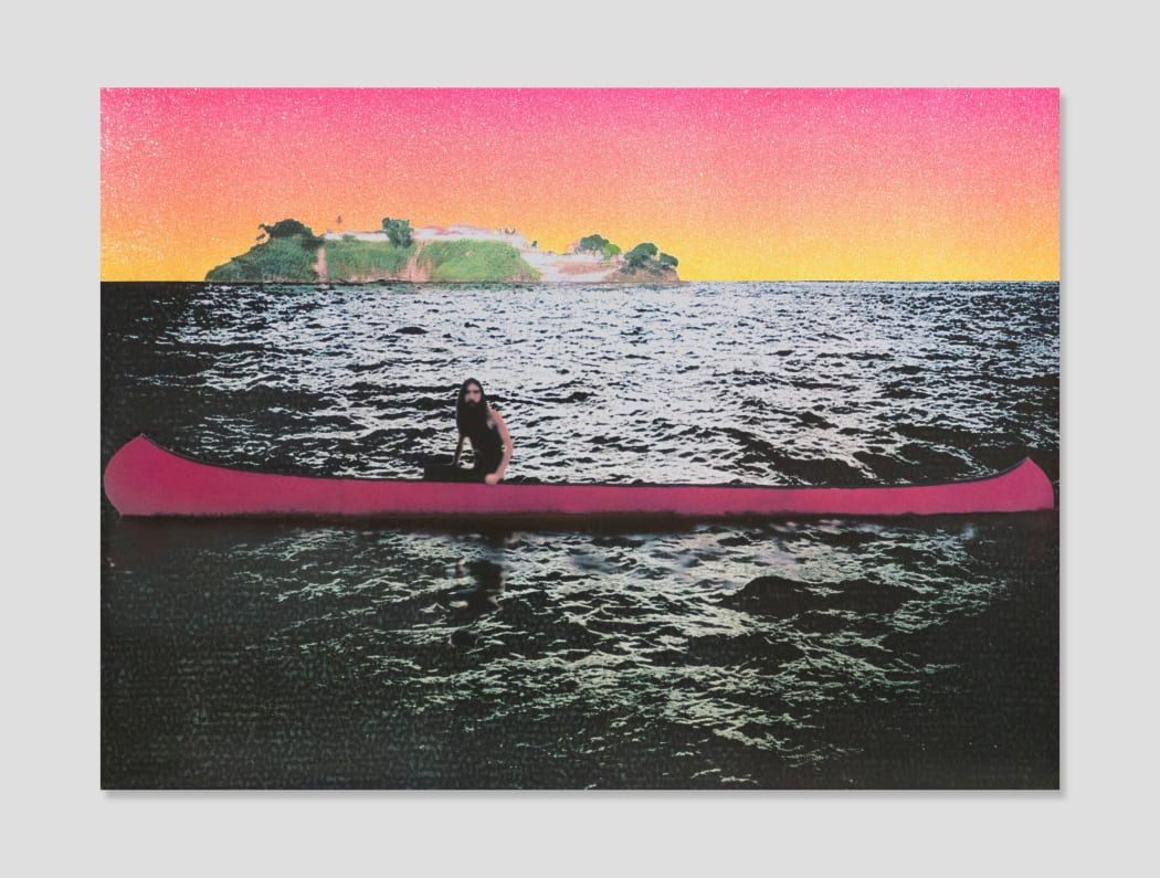 Peter Doig, Canoe Island, 2000, color serigraph, 38.5 x 28.5 in.