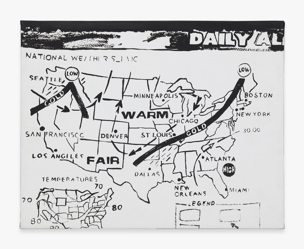 Andy Warhol. Weather Map (Positive), 1986. Acrylic on canvas 16 x 20 in. (40.6 x 50.8 cm.) © 2020 Andy Warhol Foundation for the Visual Arts / Artists Rights Society (ARS), New York. Courtesy of Zeit Contemporary Art, New York