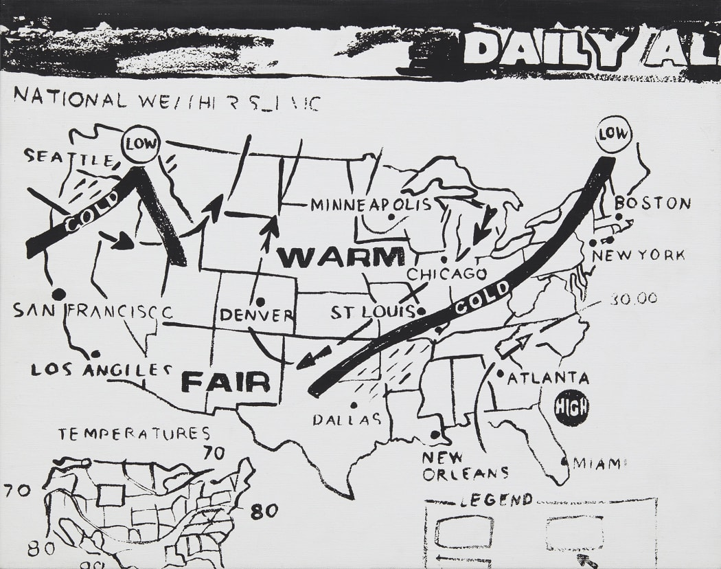 Andy Warhol. Weather Map (Positive), 1986. Acrylic on canvas 16 x 20 in. (40.6 x 50.8 cm) © 2020 Andy Warhol Foundation for the Visual Arts / Artists Rights Society (ARS), New York. Courtesy of Zeit Contemporary Art, New York