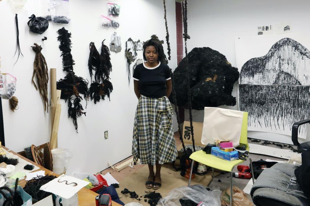 Adebunmi Gbadebo in her studio, New York, 2021. Courtesy of the artist