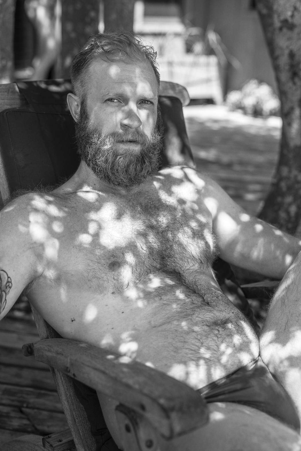 Bryson Rand. Zack in Dappled Light (Fire Island), 2019. Archival inkjet print 40 × 28 in. 101.6 × 71.1 cm. Courtesy of the artist and Zeit Contemporary Art, New York