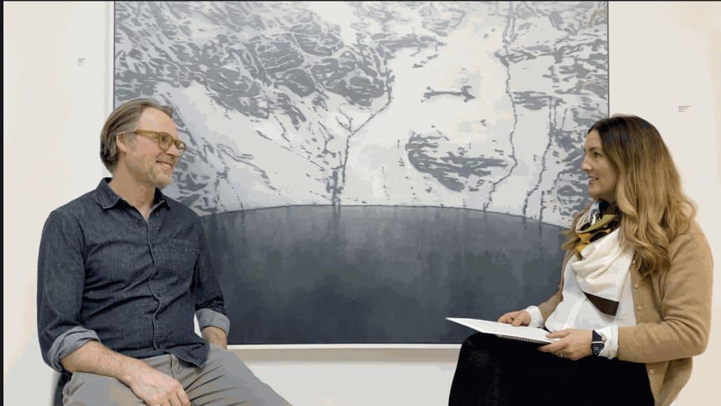 Artist Daniel Crawshaw and Hannah Payne, Senior Director, Zuleika Gallery