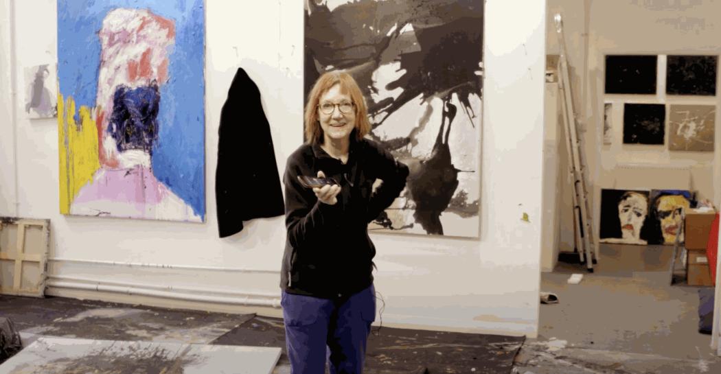 Penny Woolcock in Frances Aviva Blane's studio