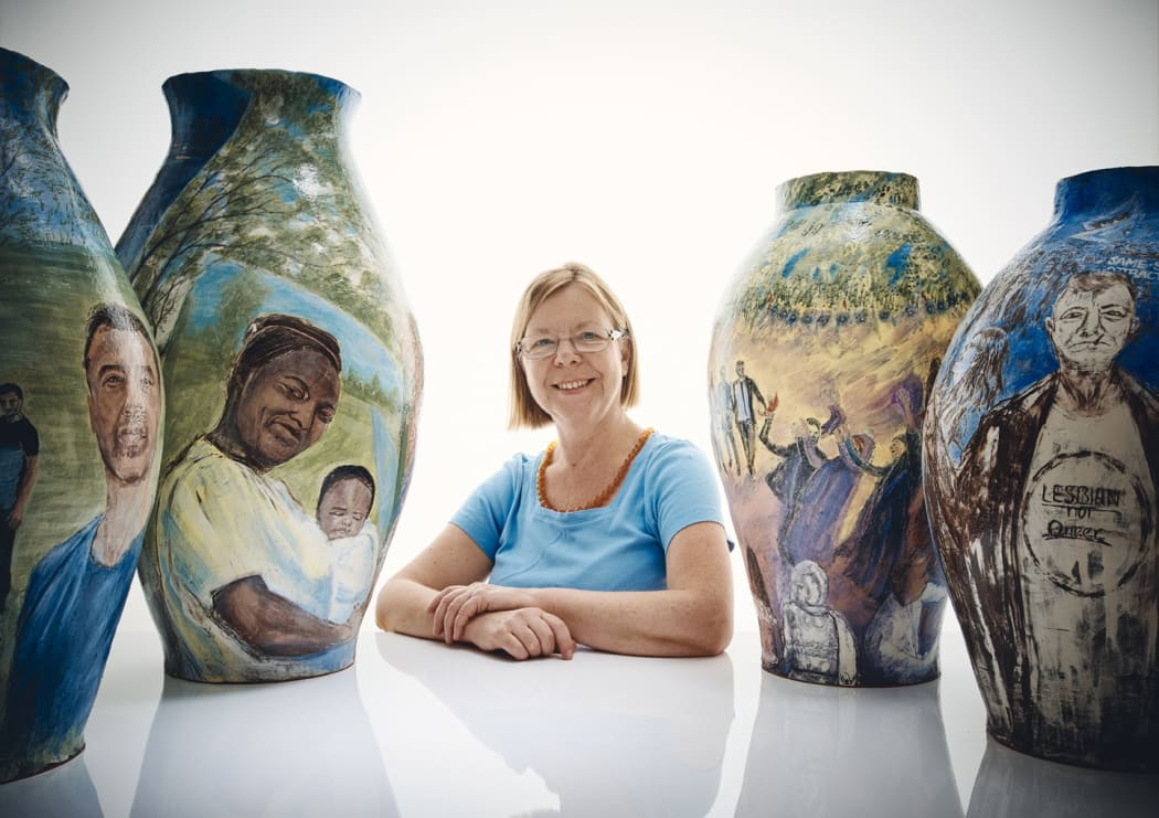 Claudia Clare with her new pots, 2020