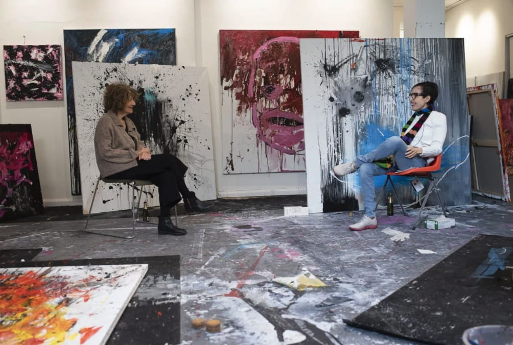 Susie Orbach in conversation with artist, Francis Aviva Blane at the artist's studio, May 2020.