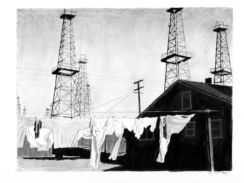 Joel Daniel Phillips, Laundry Dries On A Clothesline Near The Venice Oilfield, 2018