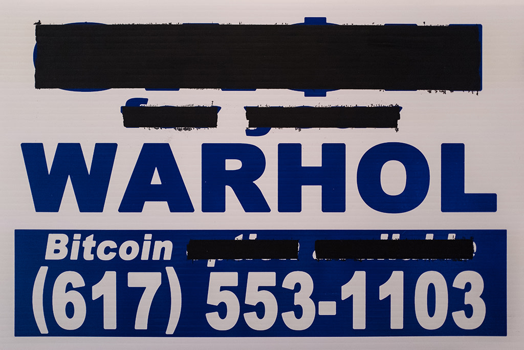 Cash For Your Warhol, CFYW Bitcoin (White, Redacted) 1, 2018