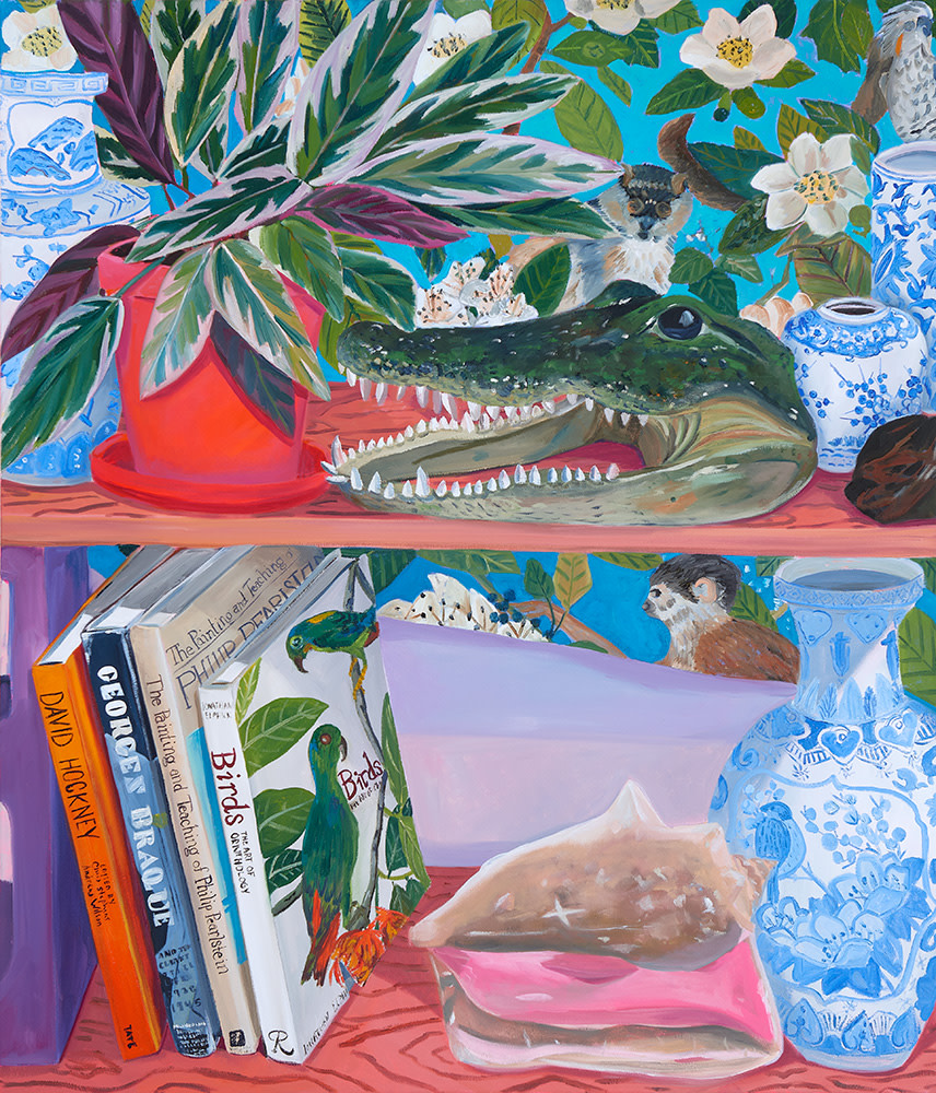 Anna Valdez, Taxidermy Alligator Head on Studio Shelf, 2019