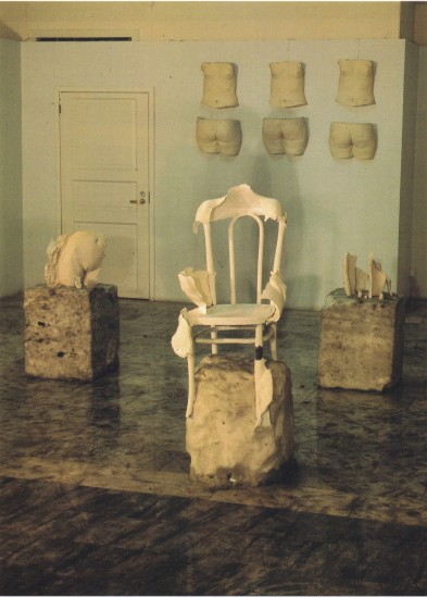 "<p>Patricia Cox</p><p><em>""Here the chair is transformed into its opposite. Right before our eyes it is losing its identity with itself experiencing a sort of genetic mutation and wrapping itself in the frozen, patrified dress of layers that had fallen off human body"" (S. Kuskov), 1991</em></p><p> </p>"
