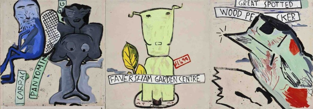 <p>Rose Wylie<br /> <i>Elephant Girl, Dog & Woodpecker</i>, 2000</p>