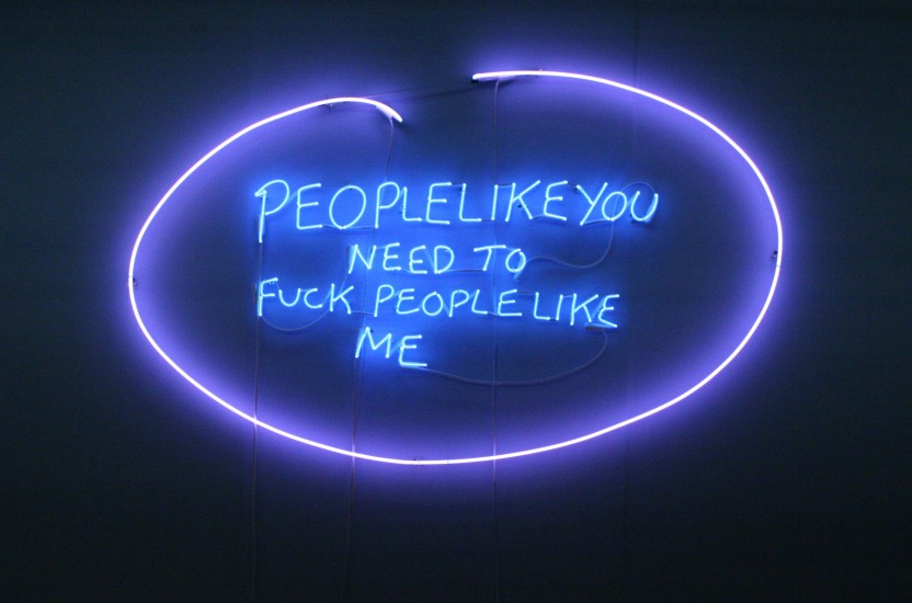 "<div class=""workTitle""><strong>Tracey Emin</strong></div><div class=""workTitle""><em>People like you need to fuck like me, <span>2007</span></em></div>"