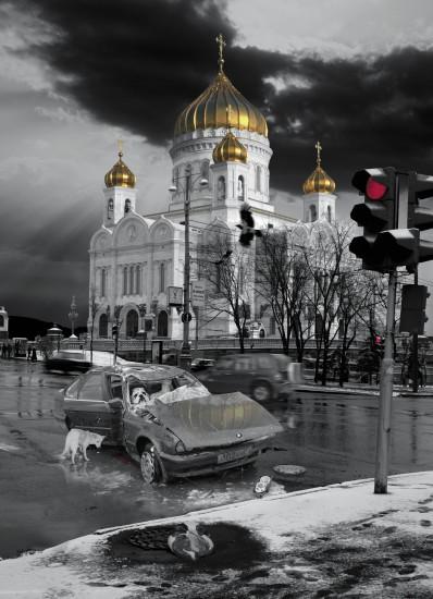 "<div class=""artist""><strong>Oleg Kulik</strong></div><div class=""title""><em>At the templefrom the series RUSSIAN</em>, 1999</div>"