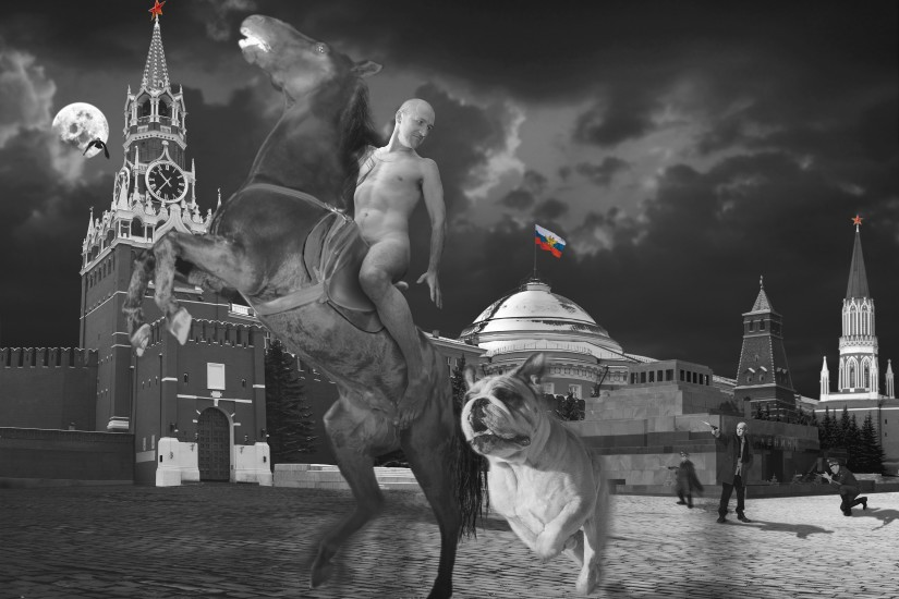"""<p><span class=""""artist""""><strong>Oleg Kulik</strong></span></p><p><span class=""""title""""><em>Red Square from the series RUSSIAN</em>, 1999</span></p>"""