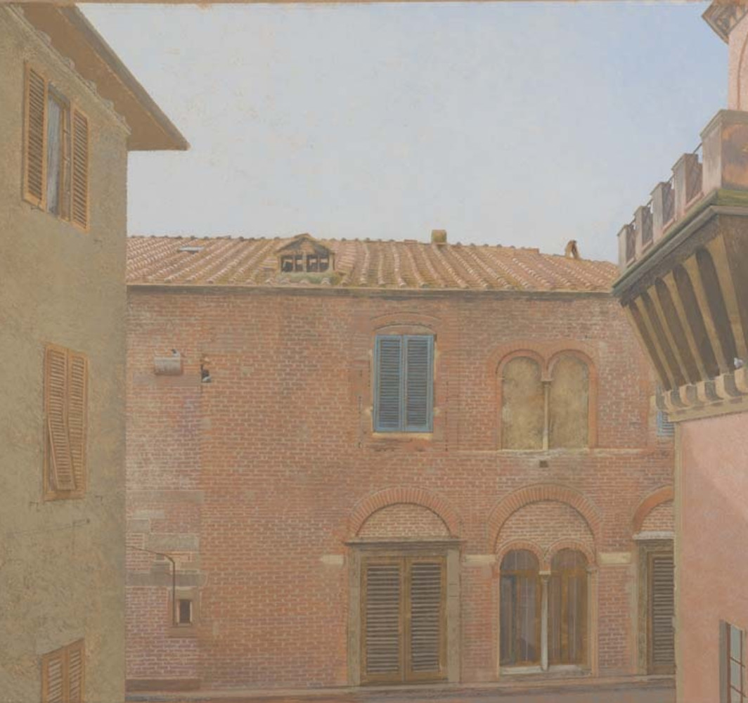 David Tindle RA View from the Flat Window of Via Battisti, Lucca, c.2000 Gouache and watercolour on paper 53 x 75 cm