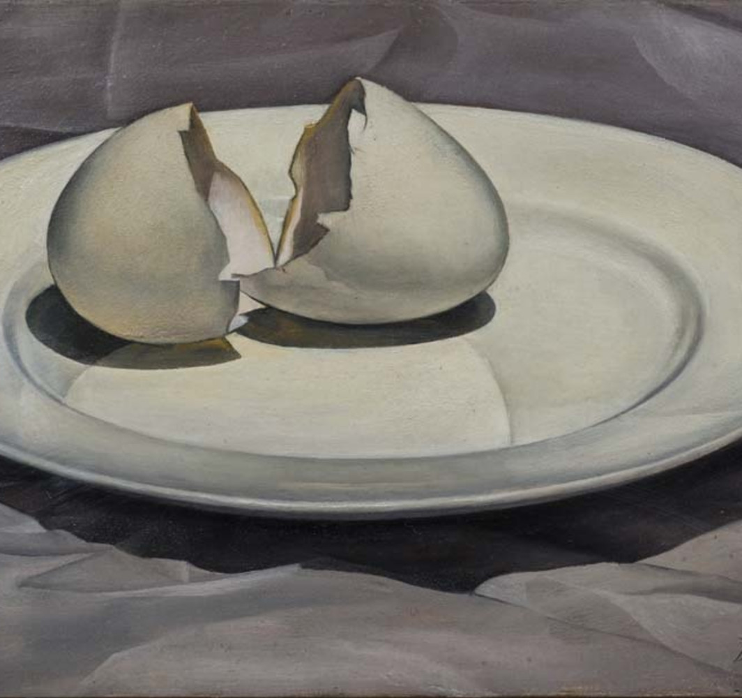 David Tindle RA Broken Egg Shell, 1954 Oil on board 14 x 23 cm