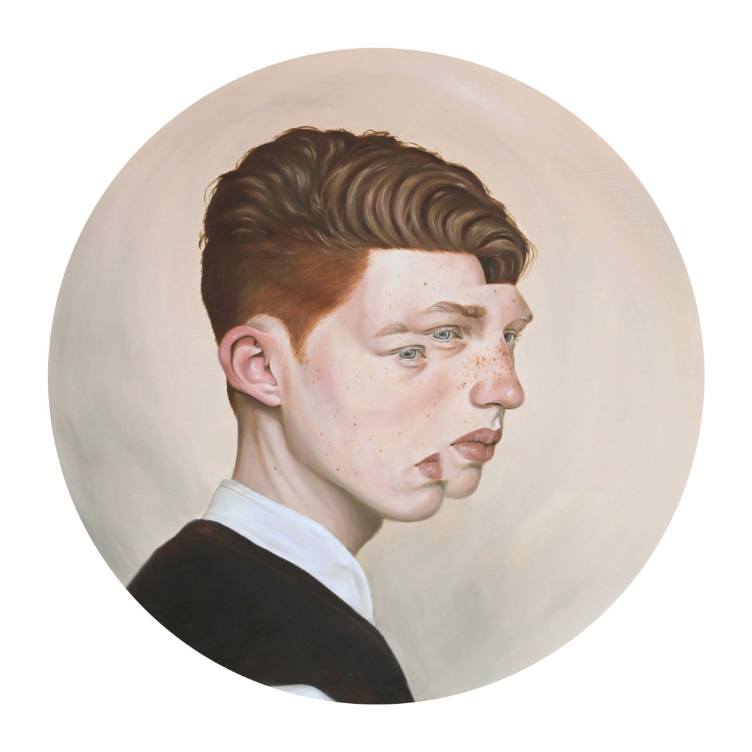 Henrietta Harris  Reflector  Oil on Board  40cm diameter  Signed, Verso